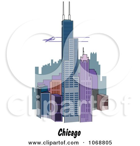 Clipart Chicago Illinois City Scene - Royalty Free Vector Illustration by Andy Nortnik