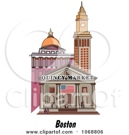 Clipart Boston Massachusetts City Scene At Quincy Market - Royalty Free Vector Illustration by Andy Nortnik