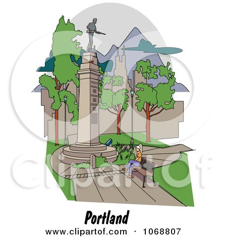 Clipart Portland Oregon City Scene At Lownsdale Square - Royalty Free Vector Illustration by Andy Nortnik
