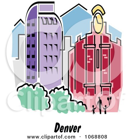 Clipart Denver Colorado City Scene - Royalty Free Vector Illustration by Andy Nortnik