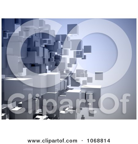 Clipart 3d Gray Cubes Floating On Blue - Royalty Free CGI Illustration by chrisroll