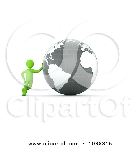 Clipart 3d Green Guy Leaning Against A Gray Globe - Royalty Free CGI Illustration by chrisroll