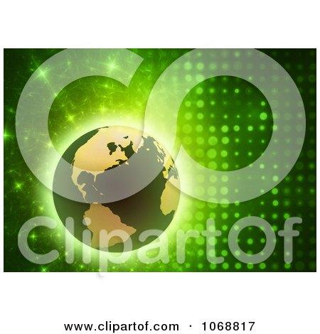 Clipart 3d Globe On A Green Futuristic Background - Royalty Free CGI Illustration by chrisroll