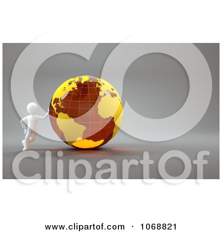 Clipart 3d White Guy Leaning Against An Orange Globe - Royalty Free CGI Illustration by chrisroll