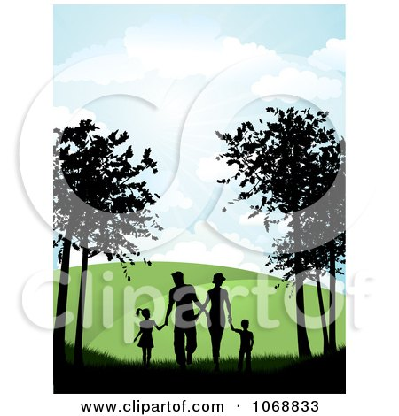 Clipart Silhouetted Family Holding Hands And Walking On A Path - Royalty Free Vector Illustration by KJ Pargeter