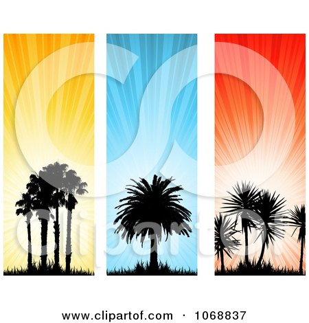 Clipart Silhouetted Palm Tree Vertical Website Banners - Royalty Free Vector Illustration by KJ Pargeter