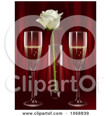 Clipart Champagne And A Rose Against Red Curtains - Royalty Free Vector Illustration by elaineitalia