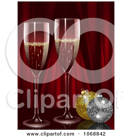 Clipart Champagne With Christmas Ornaments And Red Curtains - Royalty Free Vector Illustration by elaineitalia