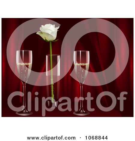 Clipart Champagne With A White Rose And Red Curtains - Royalty Free Vector Illustration by elaineitalia