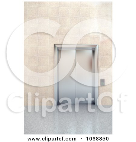 Clipart 3d Chrome Elevator In A Lobby 2 - Royalty Free CGI Illustration by stockillustrations