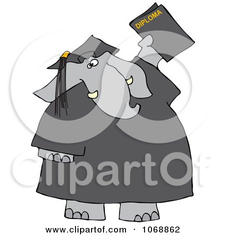 Clipart Graduate Elephant With A Diploma - Royalty Free Vector Illustration by djart