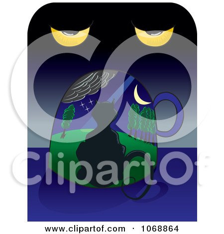 Clipart Surreal Cat Under A Night Sky And Eyes - Royalty Free Vector Illustration by David Rey
