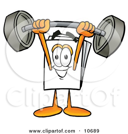 Clipart Picture of a Paper Mascot Cartoon Character Holding a Heavy Barbell Above His Head by Toons4Biz