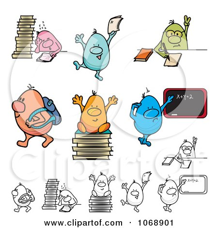 Clipart Roundy School Students - Royalty Free Vector Illustration by MilsiArt