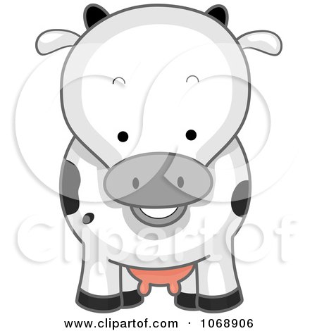Clipart Cute Cow From The Front - Royalty Free Vector Illustration by BNP Design Studio