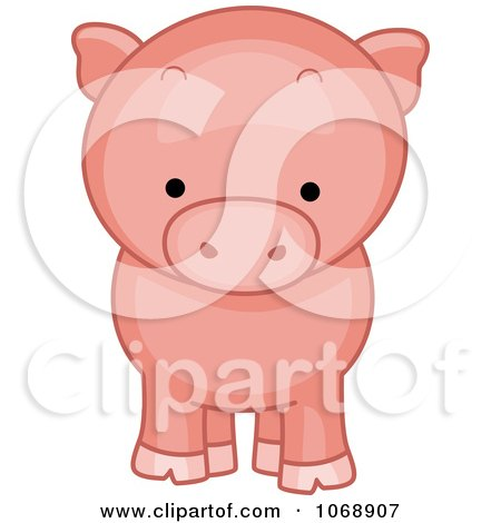 Clipart Cute Piggy From The Front - Royalty Free Vector Illustration by BNP Design Studio