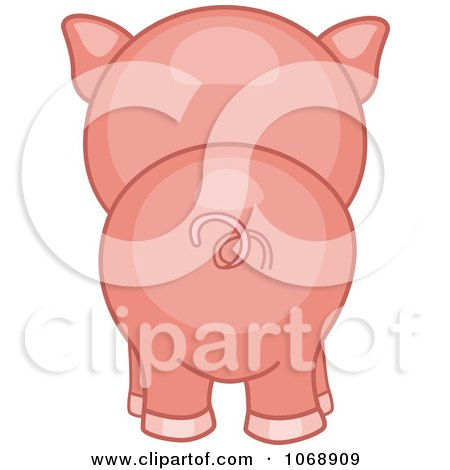 Clipart Cute Piggy From Behind - Royalty Free Vector Illustration by BNP Design Studio