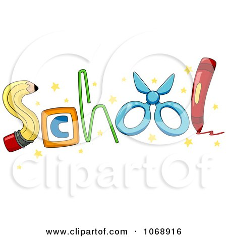 Clipart SCHOOL Formed With Supplies - Royalty Free Vector Illustration by BNP Design Studio