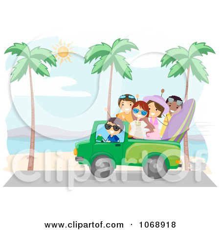 Clipart Summer Friends Driving On A Beach - Royalty Free Vector Illustration by BNP Design Studio