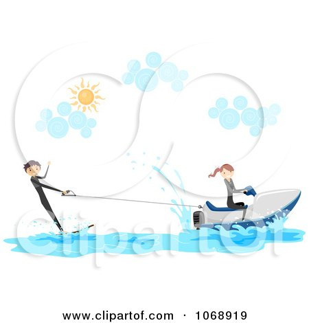 Clipart Stick Couple With A Wakeboard And Jetski - Royalty Free Vector Illustration by BNP Design Studio