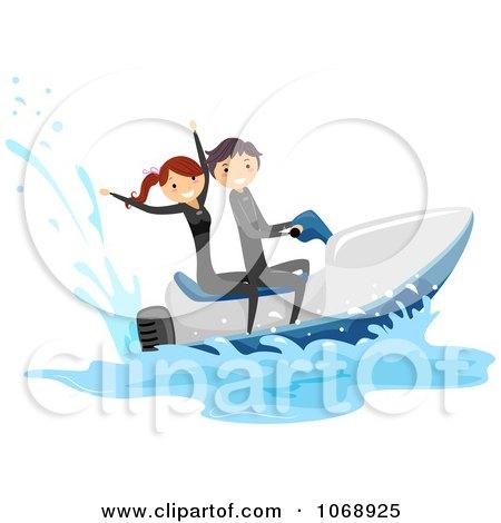 Clipart Stick Couple On A Jetski - Royalty Free Vector Illustration by BNP Design Studio