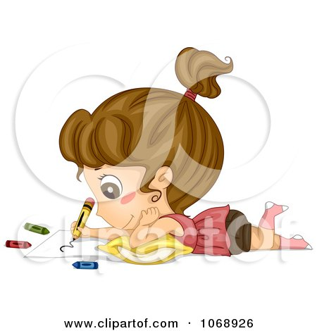 Clipart Cute Girl Coloring - Royalty Free Vector Illustration by BNP Design Studio