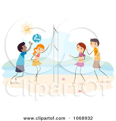 Clipart Stick Kids Playing Beach Volleyball - Royalty Free Vector Illustration by BNP Design Studio