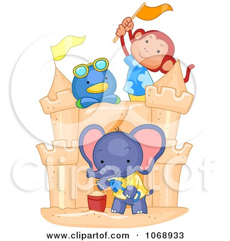 Clipart Cute Animals Building A Sand Castle - Royalty Free Vector Illustration by BNP Design Studio