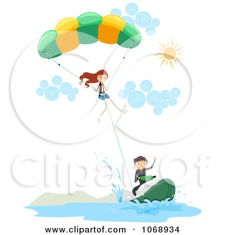 Clipart Stick People Parasailing - Royalty Free Vector Illustration by BNP Design Studio