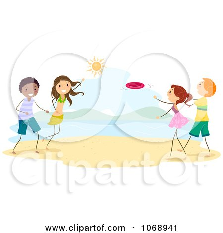 Clipart Stick People Playing Frisbee On The Beach - Royalty Free Vector Illustration by BNP Design Studio