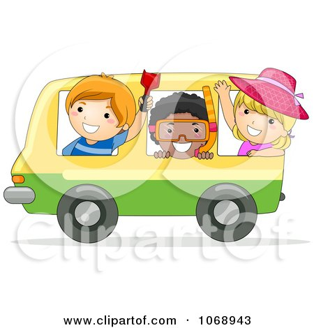 Clipart Stick Kids On A Bus Heading To The Beach - Royalty Free Vector Illustration by BNP Design Studio