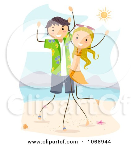 Clipart Stick Couple Dancing On The Beach - Royalty Free ...