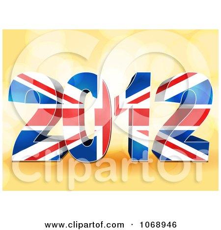 Clipart 3d Union Jack 2012 Flag - Royalty Free Vector Illustration by elaineitalia