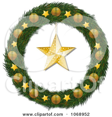 Clipart 3d Christmas Wreath With Golden Stars And Ornaments - Royalty Free Vector Illustration by elaineitalia
