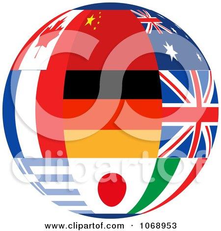 Clipart 3d World Flag Sphere - Royalty Free Vector Illustration by elaineitalia