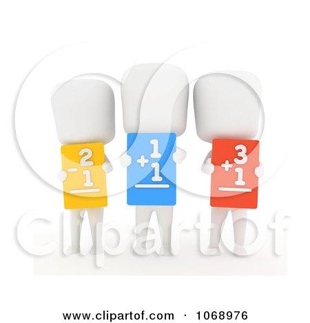 Clipart 3d Ivory School Kids Holding Flash Cards - Royalty Free CGI Illustration by BNP Design Studio