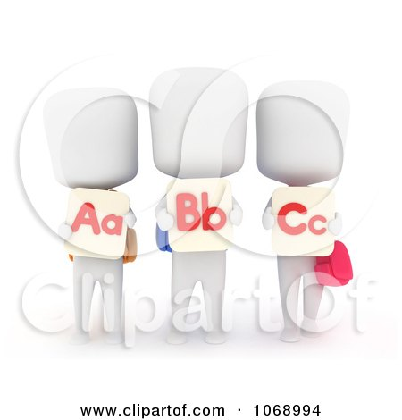 Clipart 3d Ivory School Kids With Flash Cards - Royalty Free CGI Illustration by BNP Design Studio