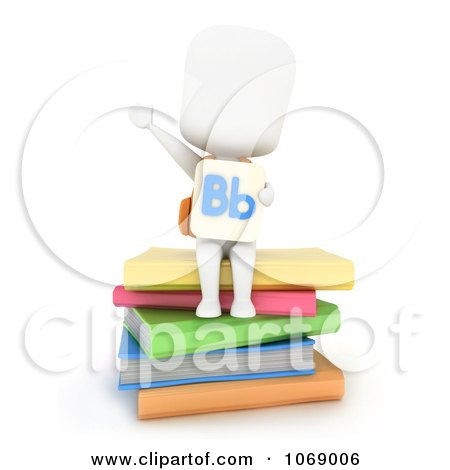 Clipart 3d Ivory School Boy With A Flash Card And Books - Royalty Free CGI Illustration by BNP Design Studio