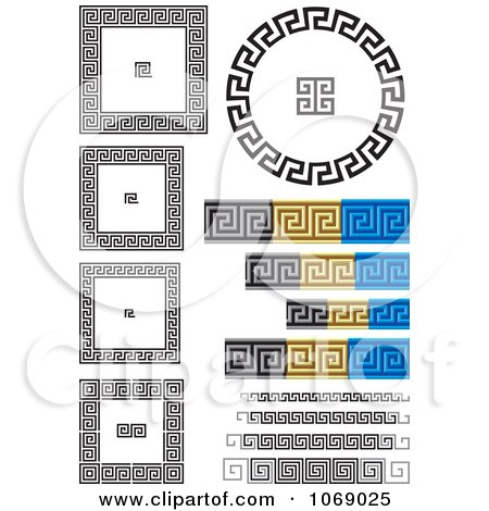 Clipart Greek Key Frames And Borders - Royalty Free Vector Illustration by Any Vector