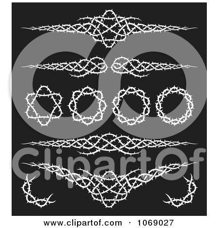 Clipart Black And White Tribal Thorn Borders - Royalty Free Vector Illustration by Any Vector
