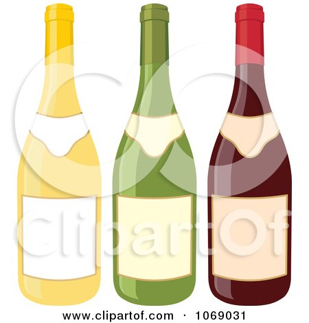 Clipart Three Wine Bottles With Blank Labels - Royalty Free Vector Illustration by Any Vector