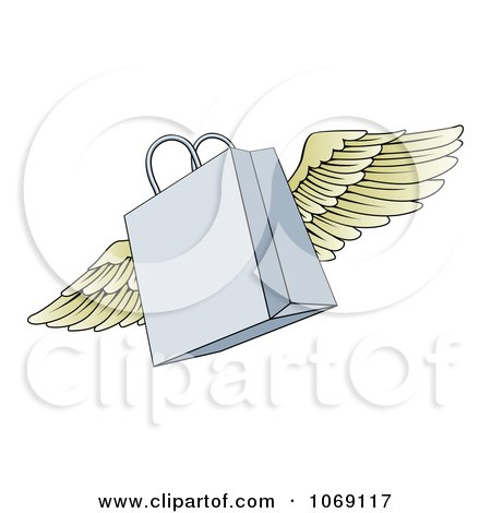 Clipart Winged Shopping Bag - Royalty Free Vector Illustration by AtStockIllustration