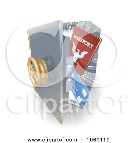 Clipart 3d Visa And Passport In A Safe - Royalty Free Vector Illustration by AtStockIllustration