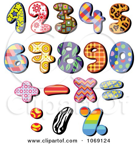 Clipart Patterned Numbers - Royalty Free Vector Illustration by yayayoyo