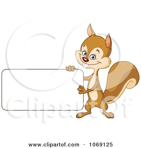 Clipart Happy Squirrel Holding A Sign - Royalty Free Vector Illustration by yayayoyo