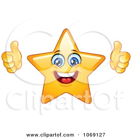 Clipart Happy Star Emoticon Holding Two Thumbs Up - Royalty Free Vector Illustration by yayayoyo