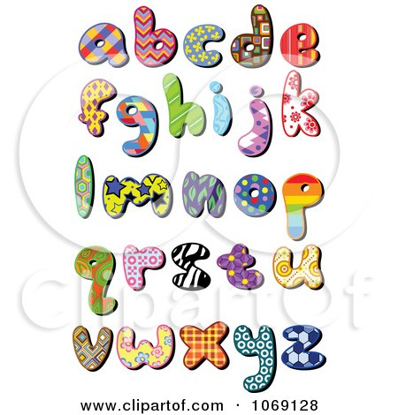 Clipart Patterned Lowercase Letters - Royalty Free Vector Illustration by yayayoyo