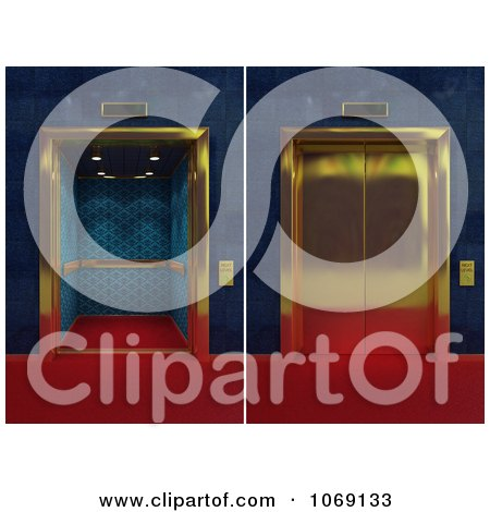 Clipart 3d Golden Elevators Shown Closed And Open - Royalty Free CGI Illustration by stockillustrations
