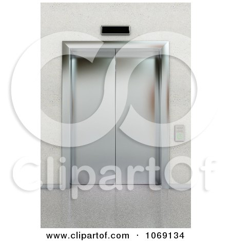 Clipart 3d Chrome Lobby Elevator - Royalty Free CGI Illustration by stockillustrations