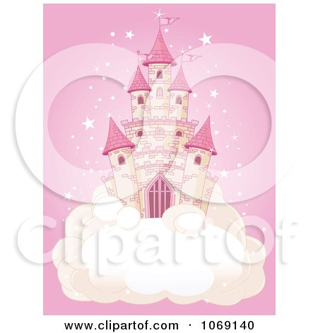 Clipart Fairy Tale Castle On A Cloud Over Pink - Royalty Free Vector Illustration by Pushkin